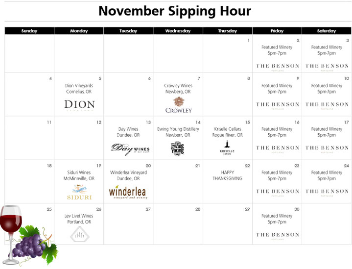 November Sipping Hour at the Benson