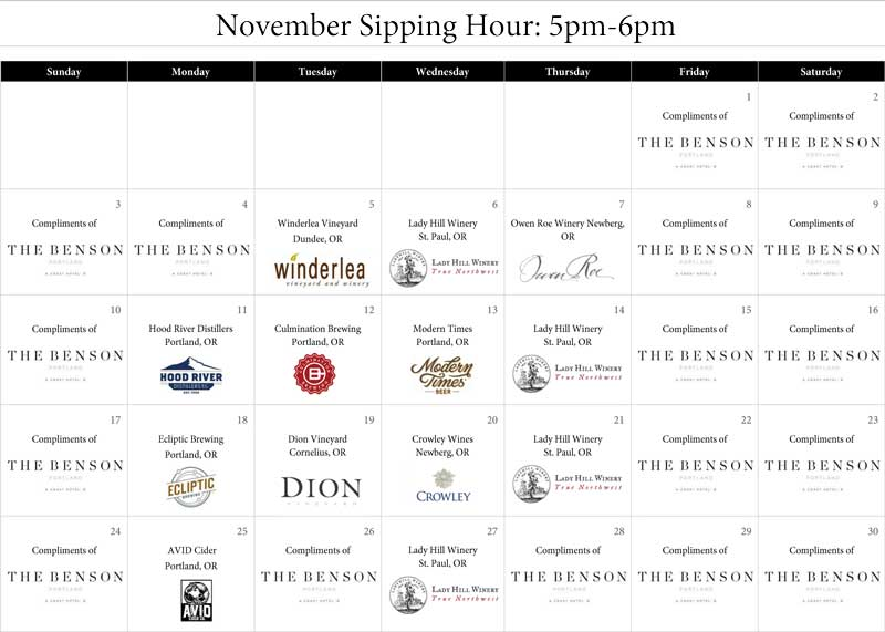 Calendar of the November Sipping Hour Events. See PDF below for more details.
