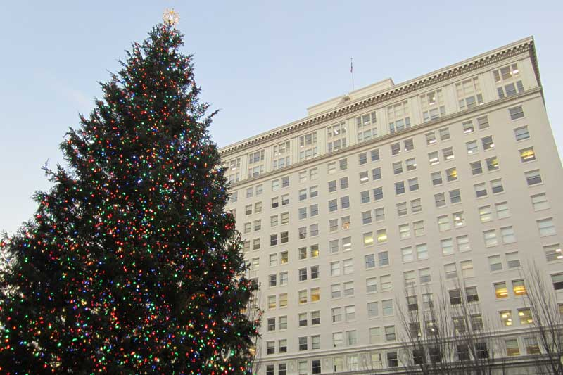 The Christmas Tree in Pioneer Square.