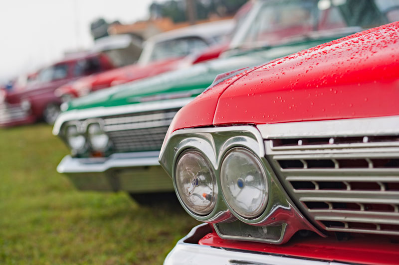 Line of Classic Cars