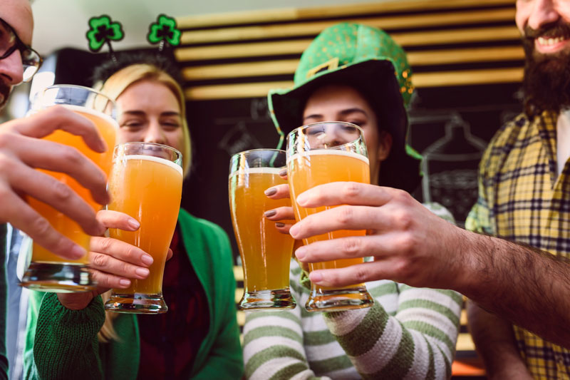 People enjoying beer on St Patrick's Day.
